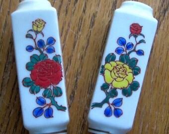 Vintage Asian Floral Salt and Pepper Shakers