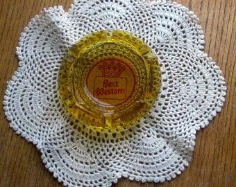 Vintage Best Western Amber Advertising Ashtray 1970 Era