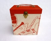 Vintage Platter Pak 45 LP Record Carry Case 700 Series Amfile Red & White Musical Instruments