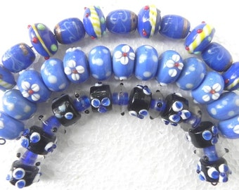"7"" Fancy  Lampwork bead set (Make your own design) 3 Strings/beading craft/jewelry craft/craft supplies/jewellery making"