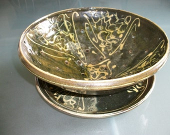 Salad Bowl & Drainer French Studio signed Atelier glazed Pottery Slipware Plate Dish