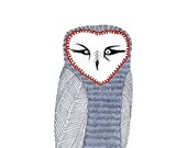 Owl art print - No. 81 - Print Reproduction of Illustration Marker and Ink Archival Owl Fall winter Trends Colors Grey Gray Red 5x7