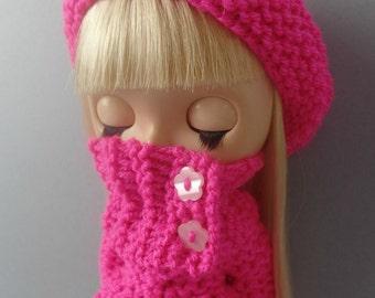 "PDF knitting pattern - Winter Jewels coat, muffler and onesie  set for 12"" Blythe/Middie/Sindy/Tangkou"