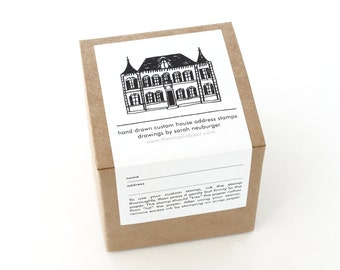 Custom Address Stamp - Custom House Address Rubber Stamp - Custom House Drawing