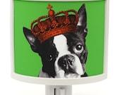Boston Terriers Rule Night Light dog puppy in crown Cute Nursery Bathroom hallway Bedroom GET IT nightlight Nite Lite