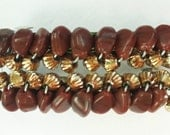 Gold and Brown Stone Beaded Barrettes set of 2