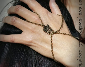 Tough Cookie Slave Bracelet Skulls Hand Chain Thumb Wrap Jewelry Antique Bronze Charms