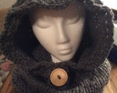 Hand knit adult hooded cowl with button