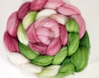 Handdyed Panda (sw merino/bamboo/nylon) Roving - Desdemona - white, cream, pink, green