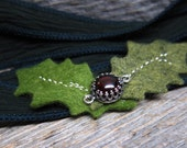 Holly silk wrap bracelet  ... hand sewn felt holly leaves with red garnet and antiqued silver