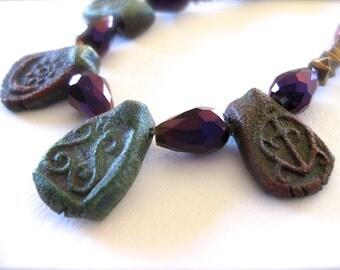 Raku Beaded Necklace, Boho Jewelry Set, Purple Beads, Metallic Necklace, Moon Bead, Bronze Glass, Copper Toggle Clasp, Mixed Metal Jewelry