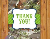 "Oak Camo Navy Blue Lime Green Thank You Card Flat Card Print Your Own All Occasion 4""x6"" Digital Instant Download (ty-219)"