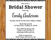 Black Floral Lace Bridal Shower Invite Bachelorette Hen's Party Invitation Printable 5x7 DIgital JPG High Resolution (442)