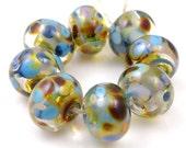 Buen Camino - Handmade Artisan Lampwork Glass Beads 8mmx12mm - Purple, Blue, Gold - SRA (Set of 8 Beads)