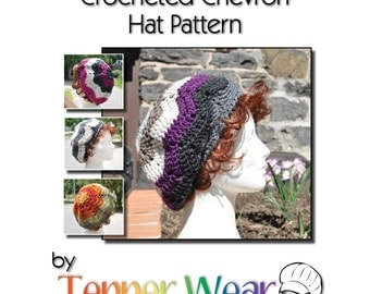 Crochet Hat Pattern - Ripple Chevron Hat - Slouchy Beret Multicolored Instant Download