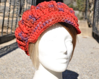 Fine Wool Red and Purple Crocheted Newsboy Hat - Women's Wool Hat Newsboy Style - Multicolored Hat - Red Hat