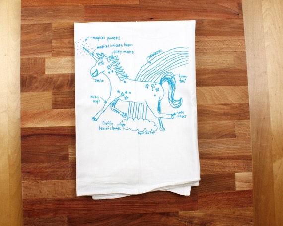 Unicorn Tea Towel - Unicorn Diagram Tea Towel - Kitchen Towel - White Cotton Dish Towel - Housewarming Gift Wedding Gift Dish cloth