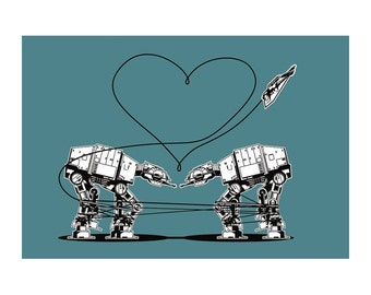 Star Wars Sticker: Star Wars Party Favors, Star Wars Valentine, Valentines Day, AT-AT Love Blue, ATAT Walkers, Star Wars Love