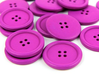10 Large Magenta Wood Buttons 4cm 40mm 1.625 inches - 4 holes Big Jumbo