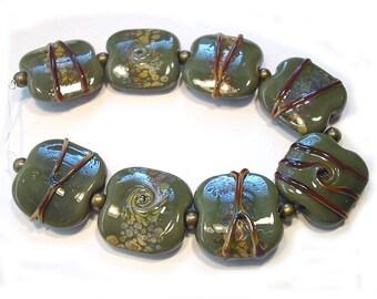 Olive Green Raku Handmade Lampwork Glass Beads