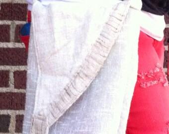 Linen deco earthy purse messenger bag shabby chic Pockets