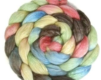 Handpainted Merino Bamboo Silk Wool Roving - 4 oz. CUPCAKE - Spinning Fiber
