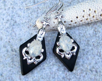 Black Stained Glass Earrings White Glass Opal and Crystal