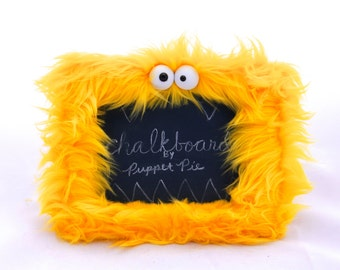 Furry Monster Chalkboard in Bright Yellow