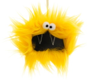 Gift Tag Furry Monster Chalkboard Ornament, Happy Yellow