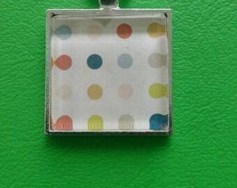Glass pendant necklace - retro dots - square - silver