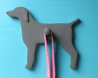 Weimaraner Dog - Handpainted Wood Leash Holder