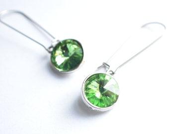 The Chrissy- Peridot Swarovski Dangle Earrings