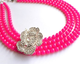 The Diane- Hot Pink Czech Glass And Rhinestone Brooch Necklace