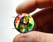 25mm 20mm 16mm 12mm or 10mm Glass Cabochon - Bob Marley Design 2 - for Jewelry and Pendant Making