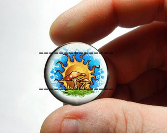 25mm 20mm 16mm 12mm 10mm or 8mm Glass Cabochon - Sunny Mushrooms - for Jewelry and Pendant Making