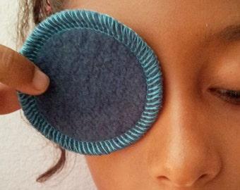 7 Organic Cotton Rounds - Reusable cosmetic rounds -  Blue Hemp makeup remover pads - Mini size.