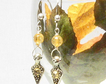Citrine Fancy Charm Sterling Silver Dangle Earrings