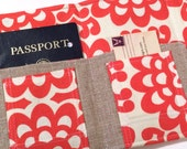 Passport Cover Carrying Case- In Touch Clutch for Moleskine Journals and Passports- Amy Butler Cherry Red Wallflower