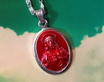 1pc GERMAN ENAMEL JESUS Vintage Medal With Chain