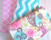 Burp Cloths for Baby Girl  - Set of 3 - Super Absorbent Triple Layer Chenille  -  Picadilly Floral, Mint Aqua Chevron & Pink Quatrefoil