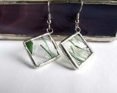Stained Glass Earrings - Green And Clear