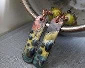 Autumn Earrings, Enameled Earrings, Copper Earrings, Yellow Green, Blue Grey, Lampwork Glass, Enameled Jewelry, Yellow Ochre
