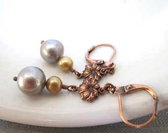 Grey Pearl Earrings, Gold Pearl Earrings, Grey and Gold, Copper Earrings, Pearl Jewelry, Copper Jewelry, Freshwater Pearls, Handmade Jewelry