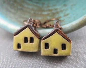 House Earrings, Copper Earrings, Stoneware Earrings, Stoneware Houses, Clay Earrings, Yellow and Black, Yellow Houses