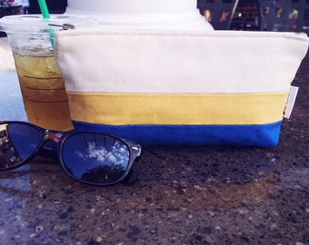 Royal Blue and Yellow Canvas Cosmetic Bag, Striped Blue Canvas Cosmetic Pouch, Canvas Makeup Bag, Cosmetic Travel Bag, Makeup Case