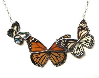 Real Butterfly Statement Necklace - Monarch and Black and White Butterflies - perfect for a Woodland Garden Wedding