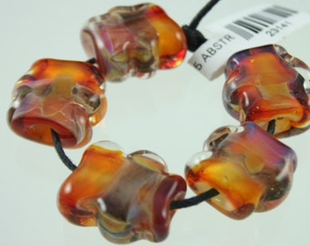 Lampwork Glass Handmade Beads Boro Borosilicate Abstract StoneyMarie Set of 5