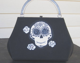 dia de los muertos purse - repurposed upcycled vintage purse - day of the dead bag - handpainted skull - goth purse - halloween purse