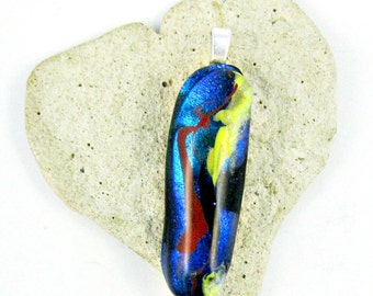 Black Blue Red Yellow and Dichroic Blue Fused Glass Pendant