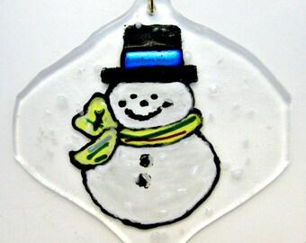 Snowman Painted Fused Glass Ornament - Suncatcher